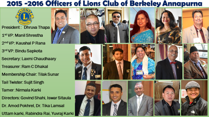 2015 -2016 Officers of Lions Club of